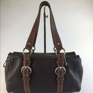 Coach brown pebbled leather handbag